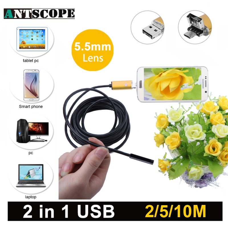 Antscope 5.5mm 2 IN1 USB Android Endoscope Camera Snake Tube Mini Camera 10m Android Phones endoscopic inspection borescope bullet camera tube camera headset holder with varied size in diameter