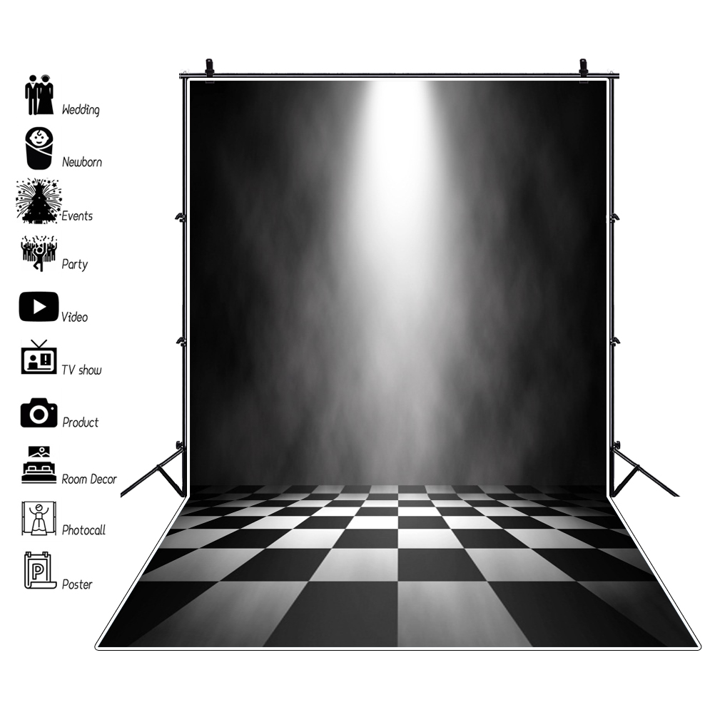 Us 3 74 22 Off Laeacco Stage Background Abstract Shiny Light Black White Square Floor Baby Child Portrait Photo Backdrop Photocall Photo Studio In