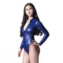 สุภาพสตรีซิปเปิดด้านหน้า Latex Bodysuits ยืดหยุ่นสูงแขนยาวผู้หญิงยืนคอ