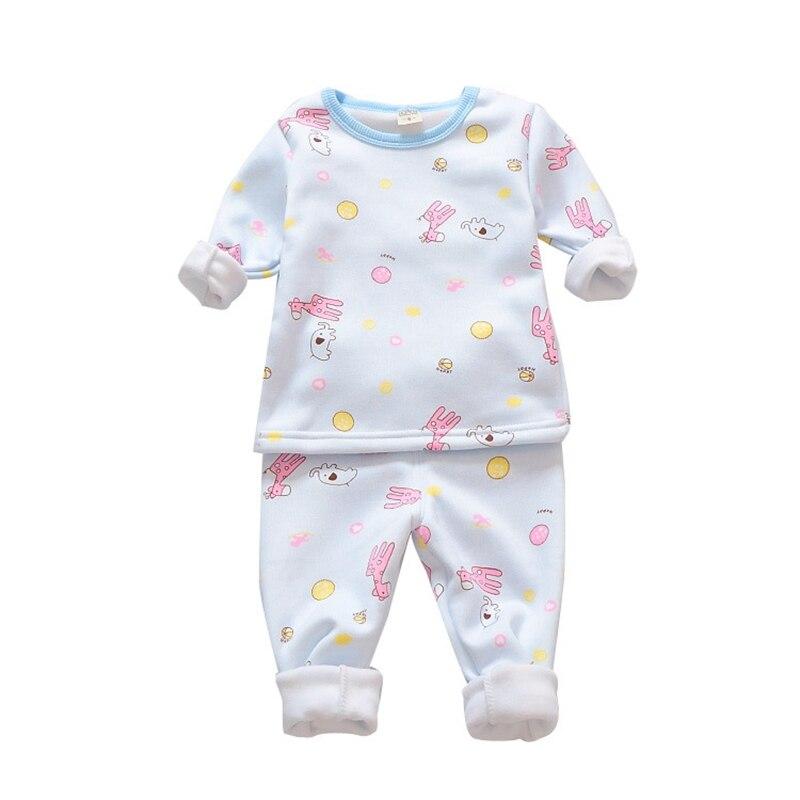 2017 Autumn Winter Baby Girls Pajamas Cartoon Printing Toddler Girls Sleepwear Cotton Velvet Kids Girls Christmas Pajamas