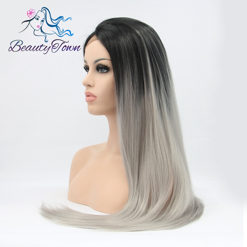 BeautyTown Hand Tied High Temperature Fiber Hair Straight Black Ombre Silver Gray Glueless Synthetic Lace Front