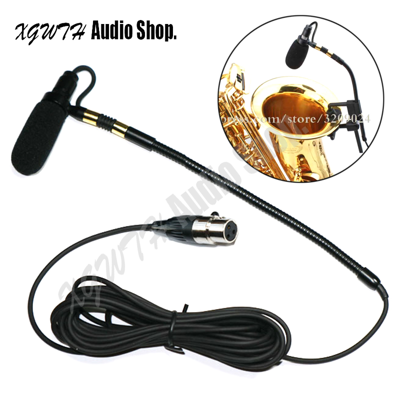 Pro Saxophone Stage Performance Musical Instrument Clip Condenser Microphone Gooseneck Mic for Shure Sennheiser AKG Bodypack