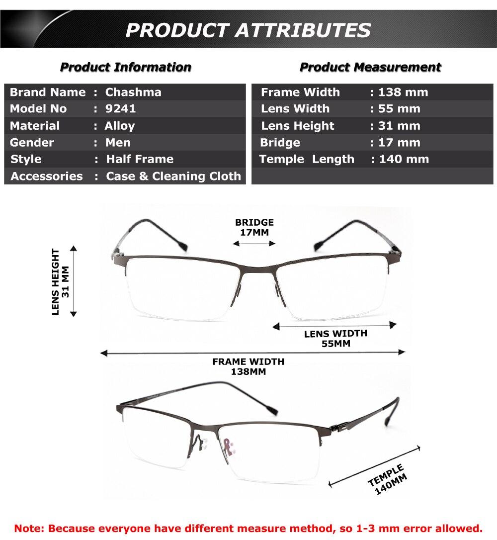 94831ed324 Chashma Brand Design Glasses Frame Fashion Alloy Eyeglass Semi Frame  Spectacle Frame Mens Optical Spectacles Frames Male
