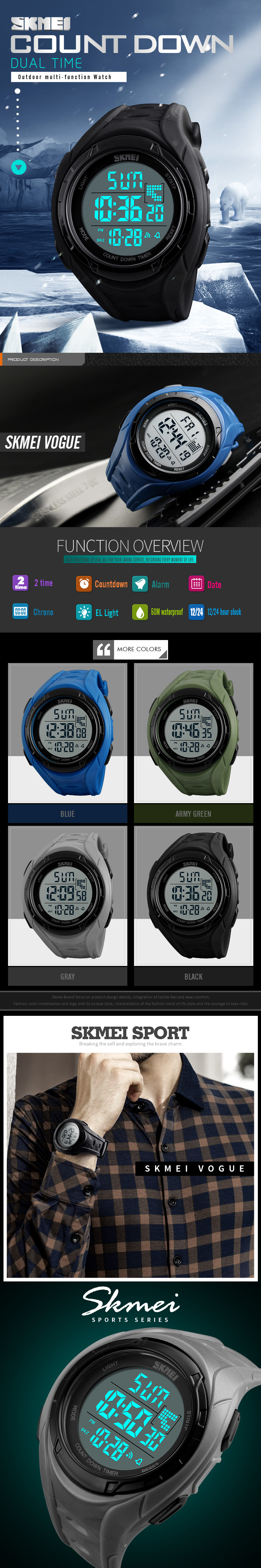 masculino esportes relógios digital led militar relógio