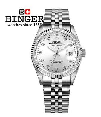 Venta caliente genuina marca mano mecánica auto Wind Watch vestido hombres  completo acero plata reloj moda Relojes 3aec38e3a09