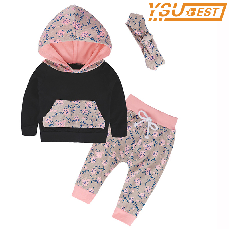 Autumn Kids Girls Clothes Set Children Sleepwear Cotton Baby Clothing Suit Children Hoodies+Floral Pants+Headband Clothes Sets keaiyouhuo newborn baby spring autumn girls clothes set rabbit cotton coat pants 2pcs set kid 0 2y girls pure clothes clothing
