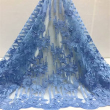 African Lace Fabric blue 2019 High Quality with Beads Latest Laces Fabrics fc1-43