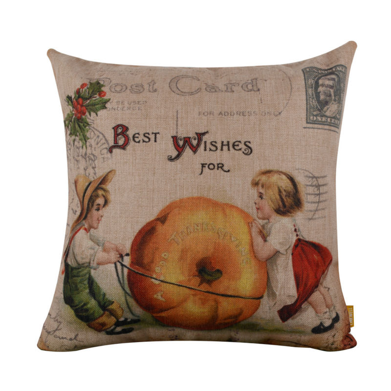 LINKWELL 18x18 Vintage Thanksgiving Day Big Pumpkin Children Burlap Cushion Cover Pillowcase for Holiday Seasonal Decoration