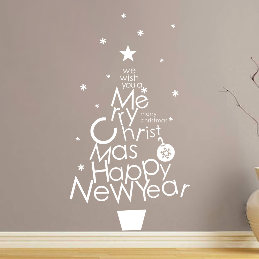 Aliexpress buy merry christmas wall stickers home aliexpress buy merry christmas wall stickers home decorations santa claus vinyl decals happy new year quotes mural art from reliable stickers home amipublicfo Gallery