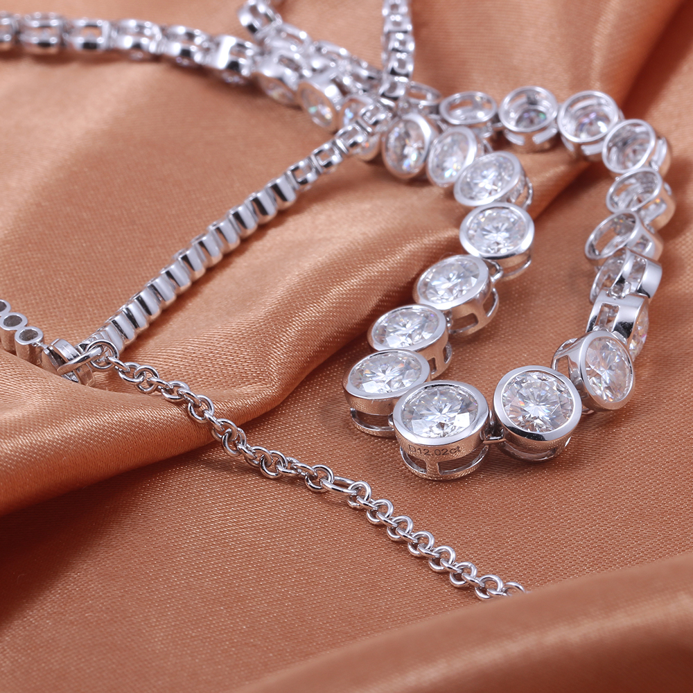 TransGems 18K 750 White Gold 13CTW Bezel Full Moissanite Necklace Eternity Chocker Necklace for Women Fine Jewelry Wedding Gifts in Necklaces from Jewelry Accessories