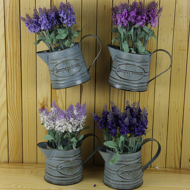 wall bucket flower pots planters with artificial flower lavender
