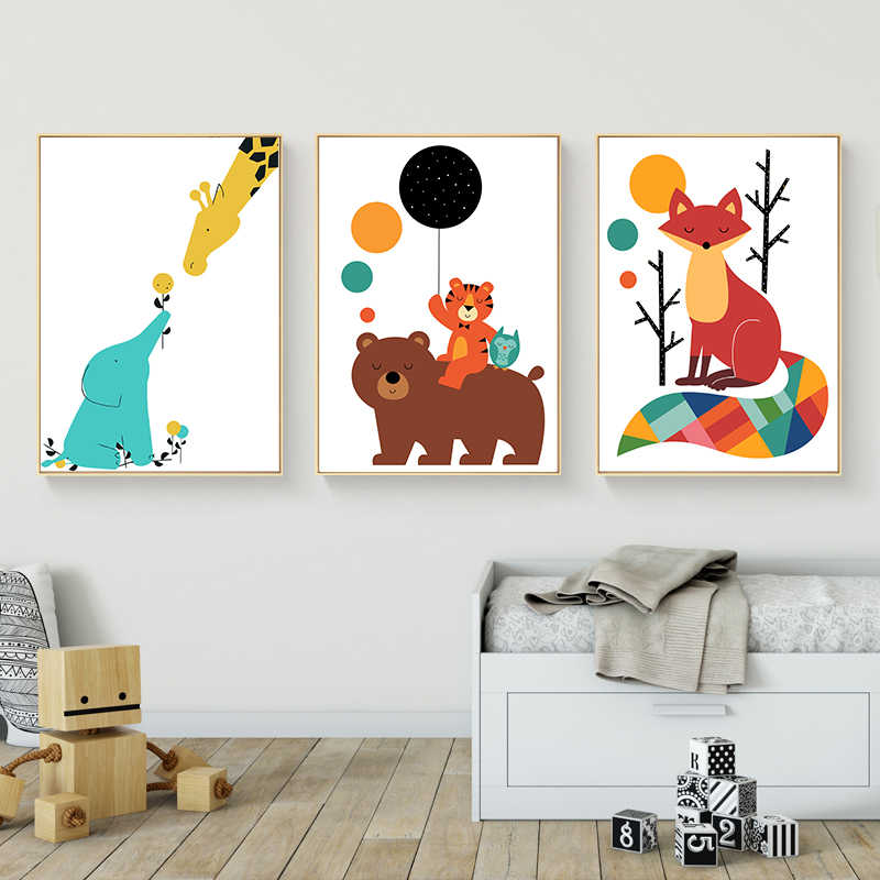 Cartoon Animal Bear Tiger Fox Canvas Posters and Prints Nordic Style Wall Art Painting Wall Picture for Baby Living Room Decor