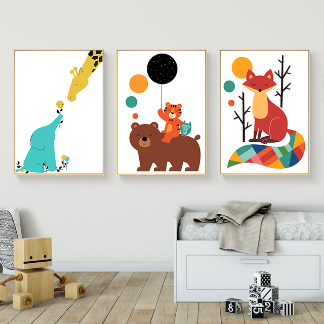 Cartoon animal bear tiger fox canvas posters and prints nordic style wall art painting wall picture