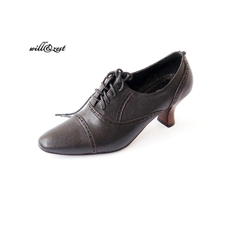 Заостренный носок овчина обувь кожаные туфли в винтажном стиле на шнуровке  Обувь на каблуке коричневый e622e1c1769c6