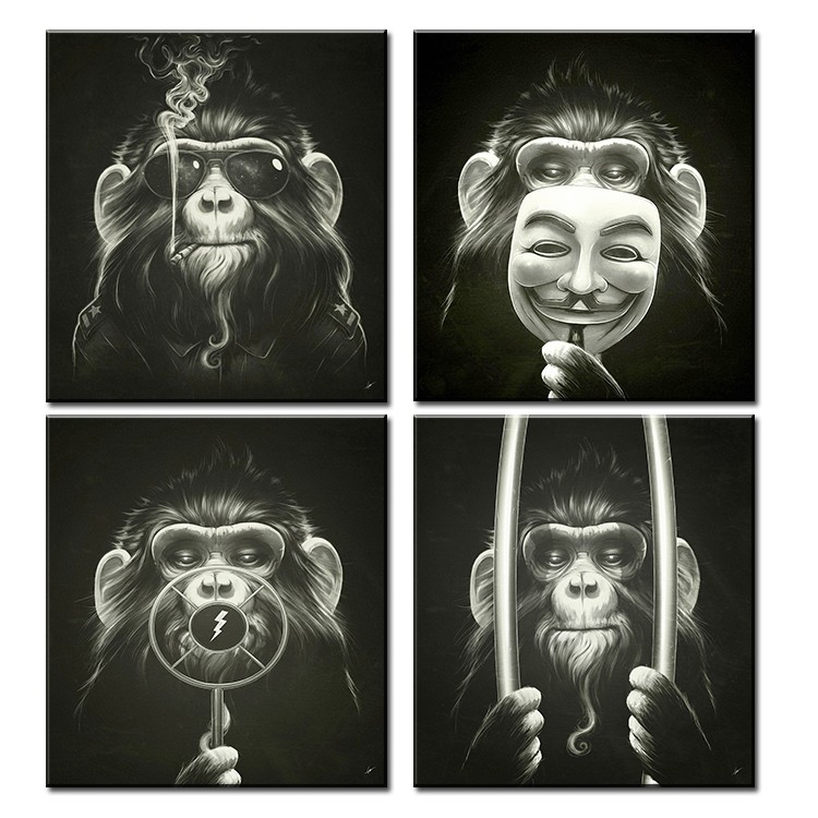 4Panel of one se tDecorative Pictures Balck Abstract Monkey Modern Smoking Picture print On Canvas Wall Oil Paintings No framed 3