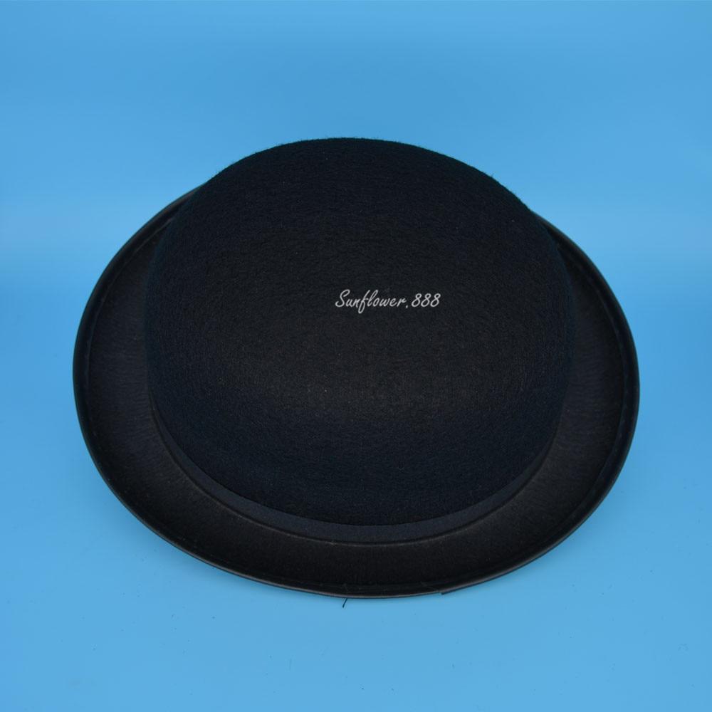 Nueva lindo negro Fieltro Bowler sombrero del vestido de lujo del hombre  del casquillo del sombrero para el Partido adulto Navidad 864e06506df0