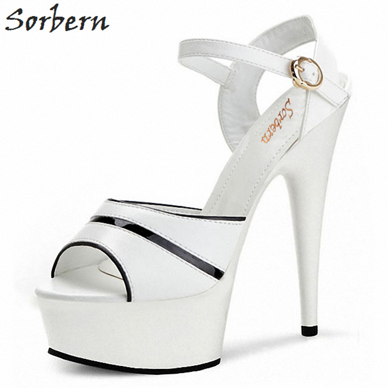Sorbern White Slingback Sandals For Women High Heel Platform Shoes Women Sandal Ladys Shoes Woman Shoes 2018 Platform New цена