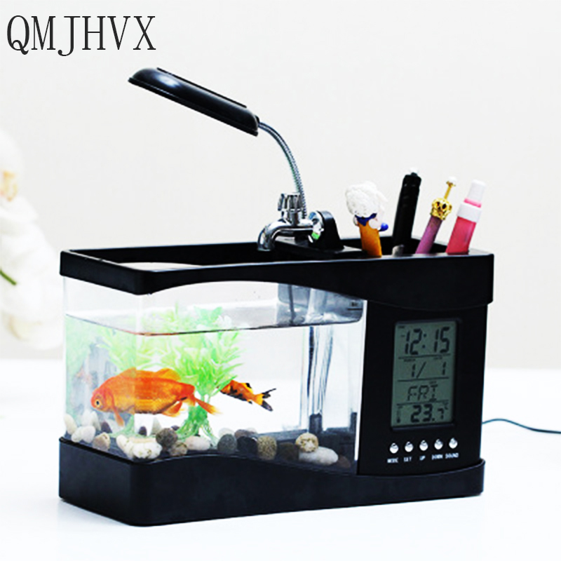 QMJHVX USB Mini Aquarium électronique de bureau avec minuterie LCD horloge LED calendrier acrylique décor maison bureau Acquario