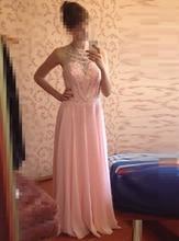 Vestido De Festa Real Photos Prom Dress 2017 O-Neck Sleeveless Cover Back Sweep Train Chiffon with Crystal Evening Dresses