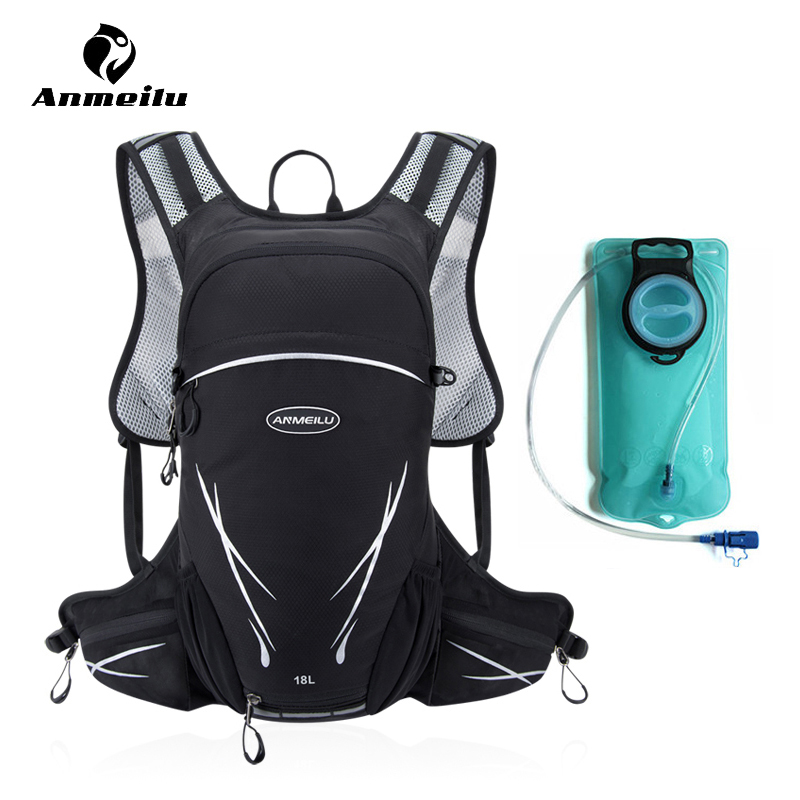 Anmeilu 2L TPU Water Bag Outdoor Sport 18L Rainproof Nylon Hiking Climbing Cycling Hydration Bicycle Bike Backpack Bladder Pack roswheel 22l ultralight cycling mountain bike bag hydration pack water backpack reflective bicycle bike hiking climbing pouch