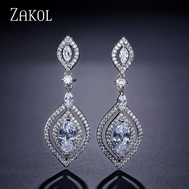 ZAKOL Classic Marquise Cut Drop Earrings Long Hollow Dangle Women Earrings For Dubai Women FSEP2049ZAKOL Classic Marquise Cut Drop Earrings Long Hollow Dangle Women Earrings For Dubai Women FSEP2049