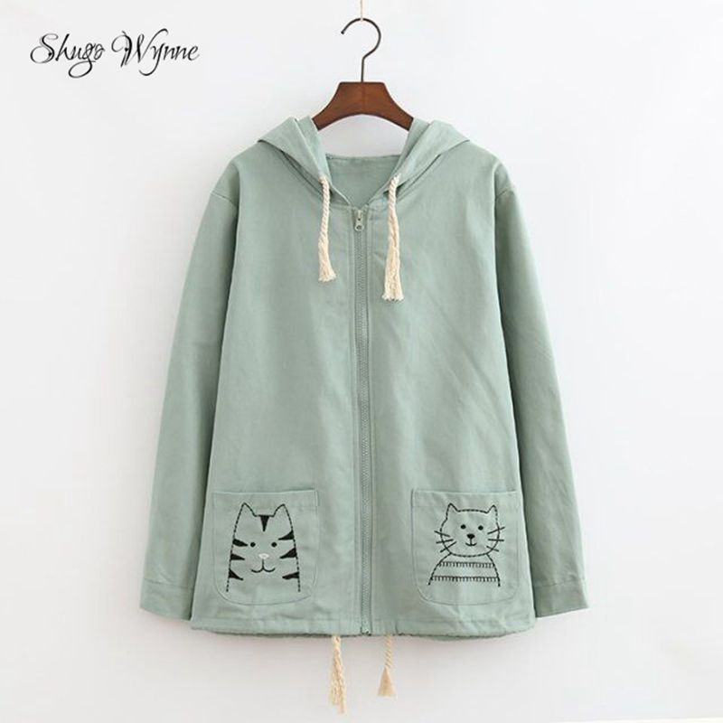 Mori Girl Outwear 2017 Spring New Women Cute Kitten Embroidery Long Sleeve Drawstring Hooded Coat Girl Loose Cotton Linen Coat
