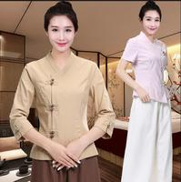 Thai beautician workwear SPA Workwear 2pcs Sets Spring / Summer Beige Massage Work Uniform Sets
