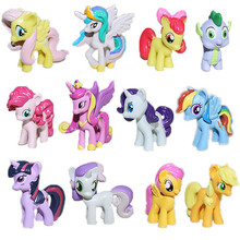 12pcs 3.5cm Plastic Horse Toy Rainbow Dash Filly Princess Celestia Cheap Action Figures Anime Figure Kids Toys For Boys Girls