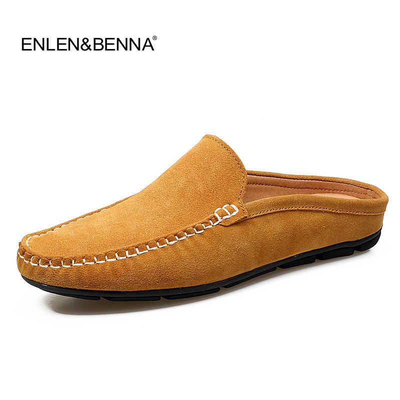 55a5e50782d Half Slipper Men 2016 Summer British Fashion Man Suede Leather Shoes Slip  on Designer Flat Loafers