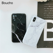 Boucho Fashion Glossy Marble Stone Case For iphone 7 X 6S 6 8 Plus Classic Black White Painted Phone