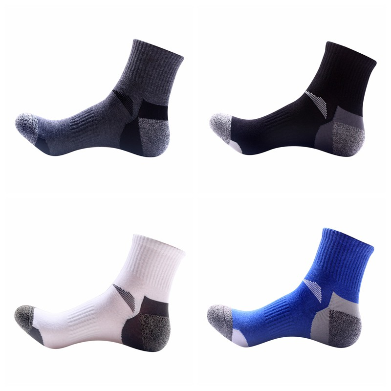 1pair Men Outdoor Quick Drying Sports SocksHiking Camping Cycling Socks Half Thick Sport Running Socks