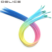 [DELICE] 50cm 12 Strands/Pack Girls Rainbow Ombre Straight Synthetic I-Tip Hair Extensions With Silicone Beads Free