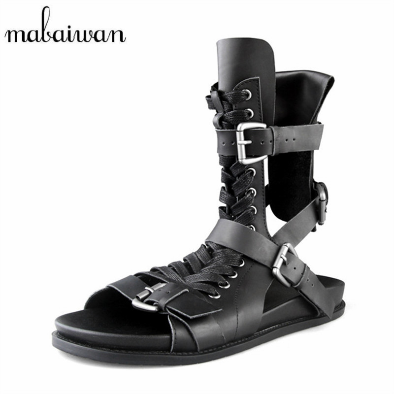 Mabaiwan Fashion Summer Sandals Men Genuine Leather Casual Flat Shoes Gladiator Sandals Black Mens Footwear Flats Beach Shoes desai brand mens sandals genuine leather shoes fashion summer men slippers breathable casual shoes leather man ds968