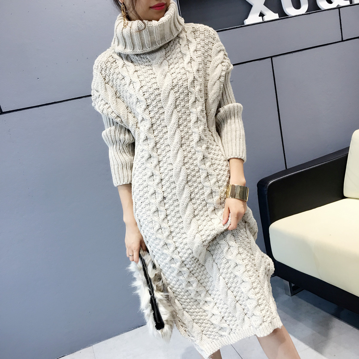 Women Sweaters Pullovers 2017 New Autumn Winter Turtleneck Think Long Knitted Sweater And Pullover Pull Femme Sweter Mujer F304 rugod 2018 new knitted winter dress women pullovers fashion sweet solid o neck long sleeves pull femme christmas sweater dress