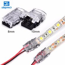 10pcs/lot 2pin 8mm 10mm LED Strip Connector Single Color 5050 3528 IP65 Strips Wire Connection Terminals
