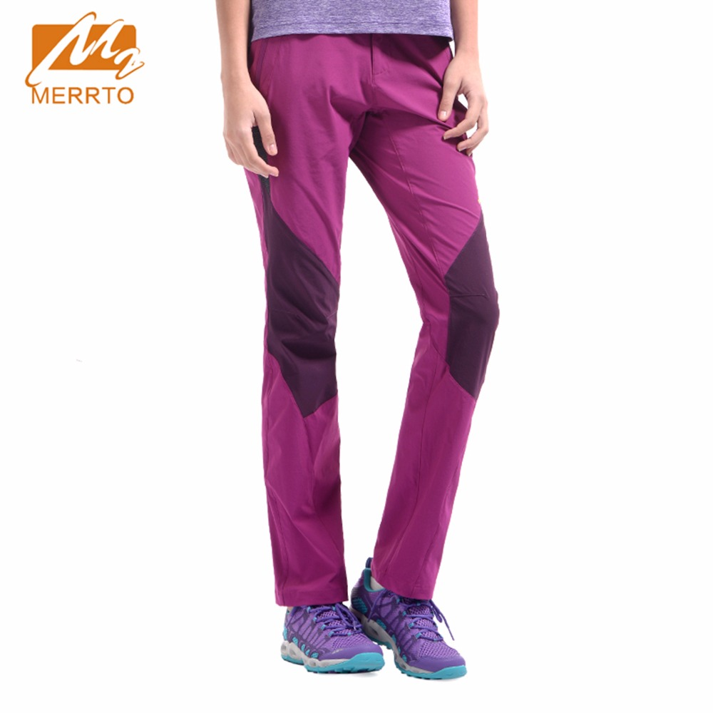 Merrto Outdoor Women's Purple Grey Lightweight Elasticity Breathable Quick-drying Pants Windproof Sports Camping Hiking Trousers
