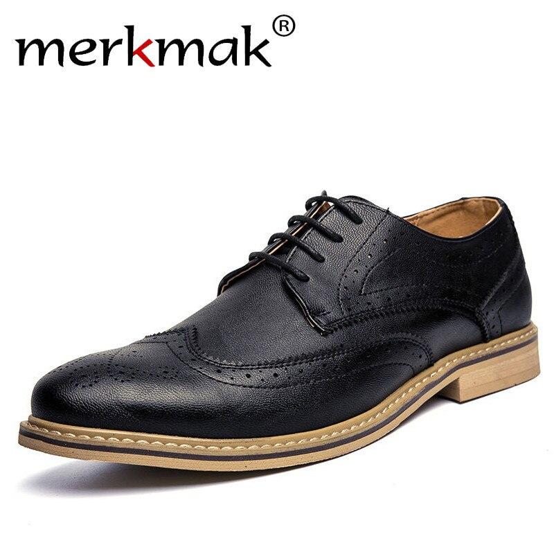 Merkmak New 2017 Luxury Leather Brogue Mens Flats Shoes ...