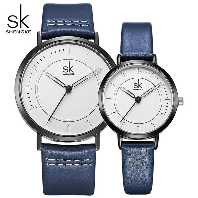 SHENGKE Lovers' Analog Quartz Watches Women Dress Wristwatches 2018 New Style Me