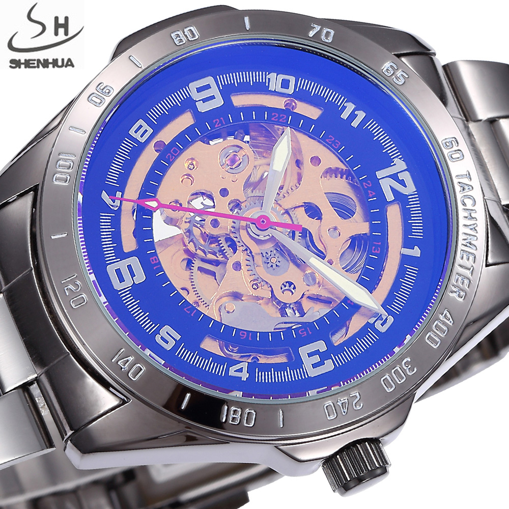 SHENHUA Retro Black Case Men Skeleton Automatic Mechanical Watches Analog Male Clock Stainless Steel Strap Self Wind Watch все цены