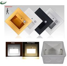 PIR motion Detector+ Light sensor led stair light infrared human body induction lamp recessed steps in ladder wall lamps 86 box(China)