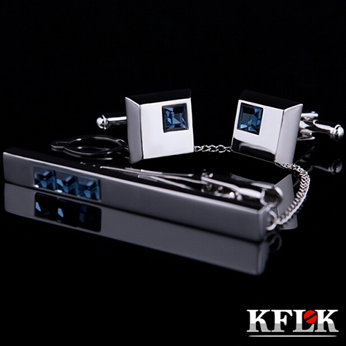 KFLK 2018 High Quality Cuff links necktie clip for tie pin for men's gift Blue Crystal tie bars cufflinks tie clip set Jewelry стенд для сушки вещей heart at home should xr 111