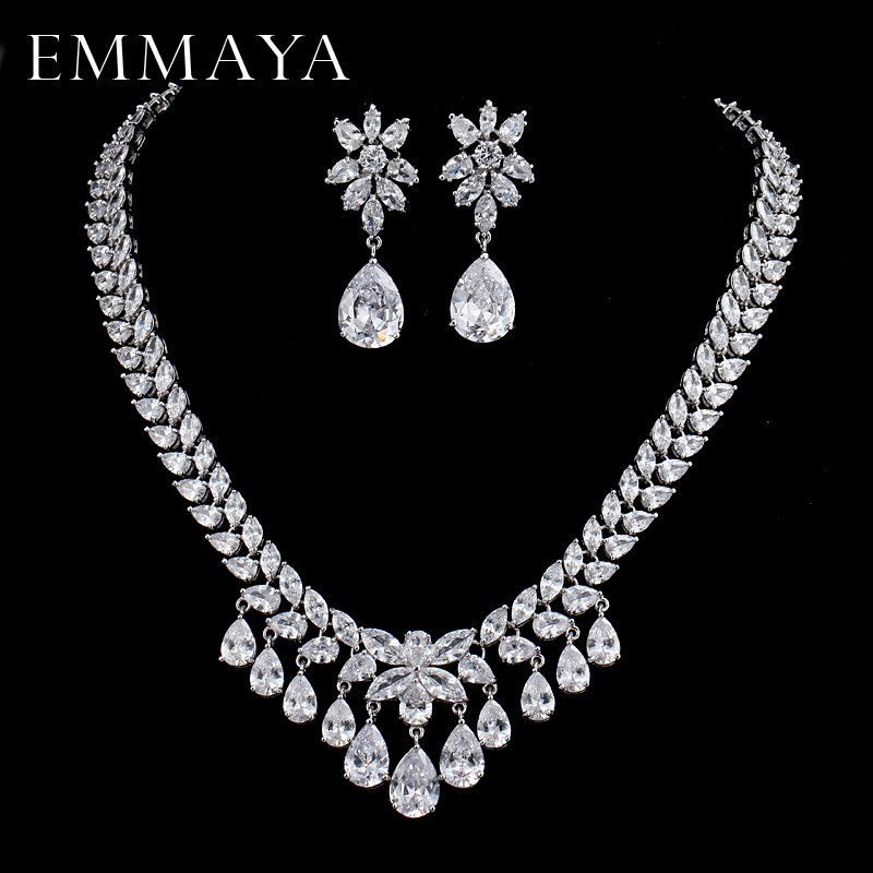EMMAYA Womens New Fashion AAA Cz Crystal Rhinestone Necklace+Earrings Flower Wedding Jewelry Sets Free shippingEMMAYA Womens New Fashion AAA Cz Crystal Rhinestone Necklace+Earrings Flower Wedding Jewelry Sets Free shipping