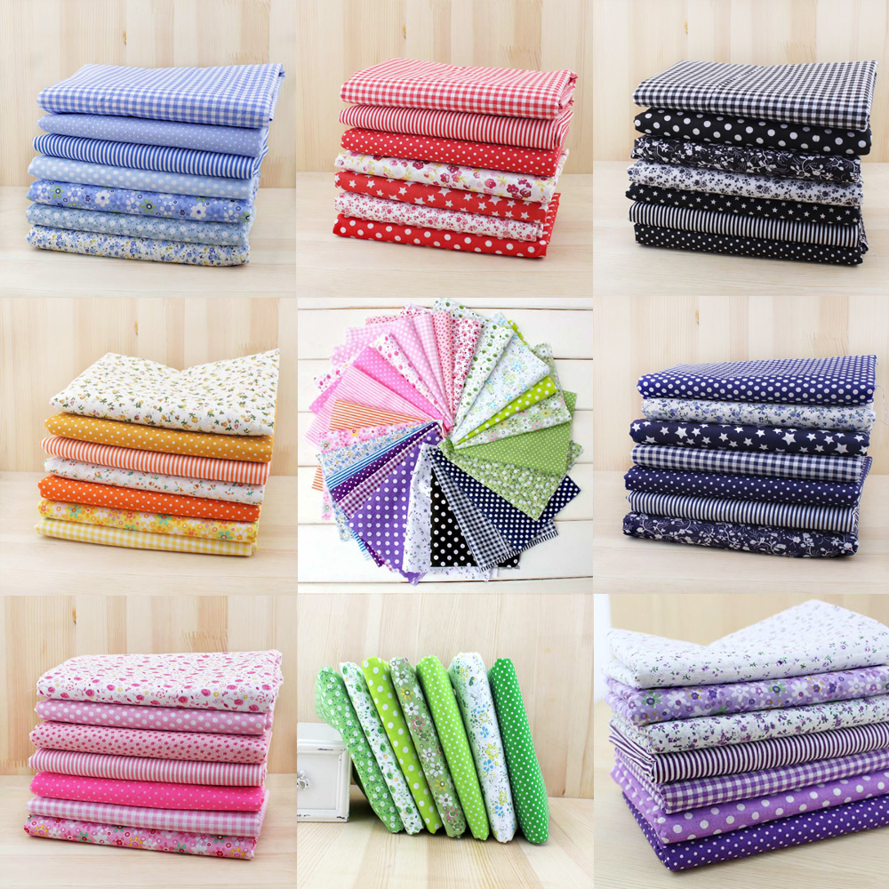 7pcs 50cm x47cm-50cm free shipping plain thin Patchwork Cotton dobby Fabric Floral Series Quilt Charm Quarters Bundle Sewing