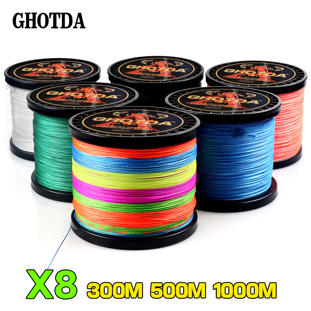 GHOTDA Multicolor 8 Strands 300M 500M 1000M PE Braid Fishing Line Sea Saltwater Weave