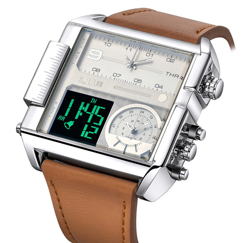 מקורי 6.11 מרובה 3 אזור הזמן קוורץ שעונים כיכר גברים שעונים Mens עור Masculino Relogio עמיד למים Led שעוני יד