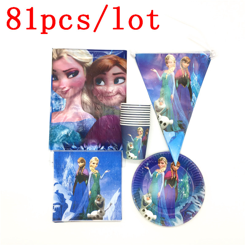 Disney Frozen Anna Elsa 81Pcs Disposable Tablecover Cup Plate Flag Baby Shower Kid Girl Birthday Napkin Banner Decoration SupplyDisney Frozen Anna Elsa 81Pcs Disposable Tablecover Cup Plate Flag Baby Shower Kid Girl Birthday Napkin Banner Decoration Supply