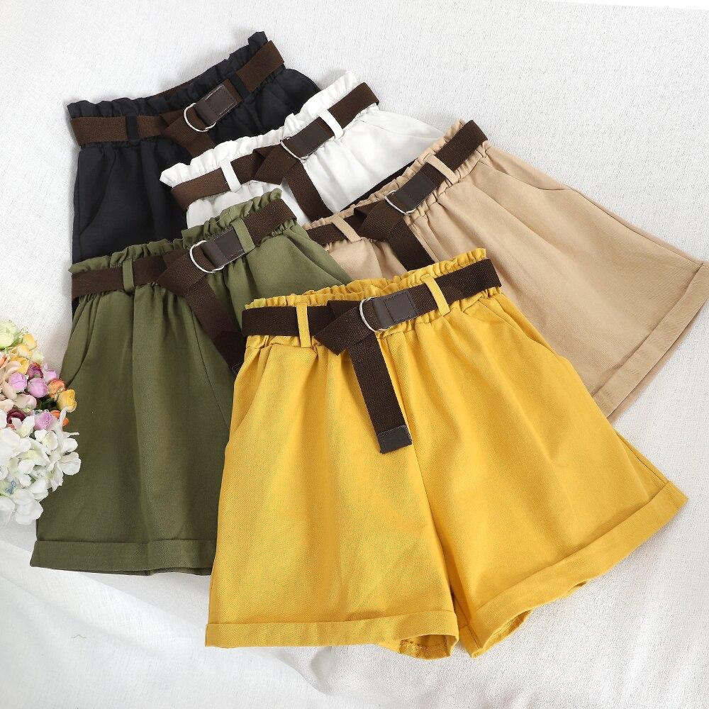 2019 Summer Korean Fashion Wide Leg   Shorts   With Belt Loose Causal   Shorts   Streetwear   Shorts