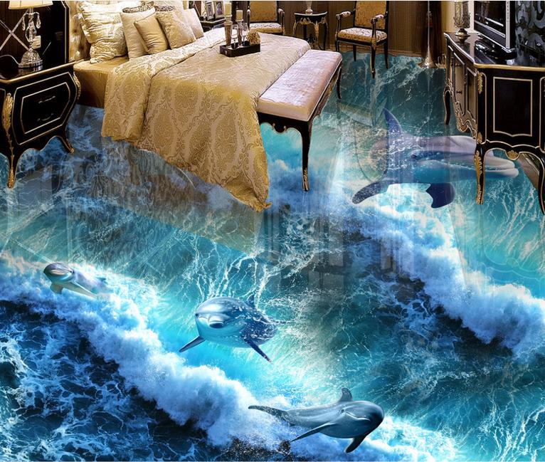 Dolphin Bathroom Tiles: Custom 3d Floor Tiles For Living Room Bathroom Wallpaper