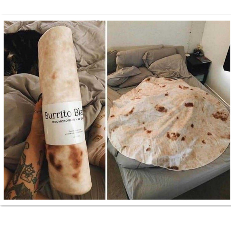 Creative Burrito Wrap Blanket Special Round Bathroom Carpet Comfort Travel Bus Car Rest Food Shape Home Insulation Blanket Home Automation Modules