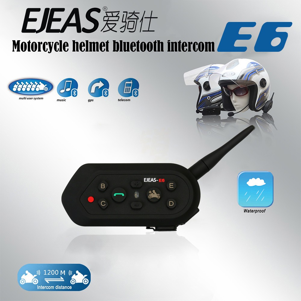 ФОТО 2017 Ejeas E6 6 People 1200m VOX Bluetooth Motorcycle Intercom Headset for Half Full Face KTM Helmets Support Music MP3 GPS